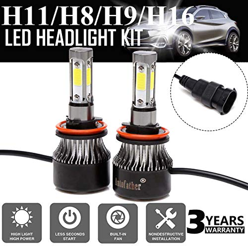 H11/H8/H9 LED Headlight Bulb 24000LM 6000K Plug&Play Hi/Lo Beam Fog Light Lamp Conversion Kit/Bulbs with COB Chips Replacement 6000K Cool White 3 Years Warranty(Set of 2)  ()