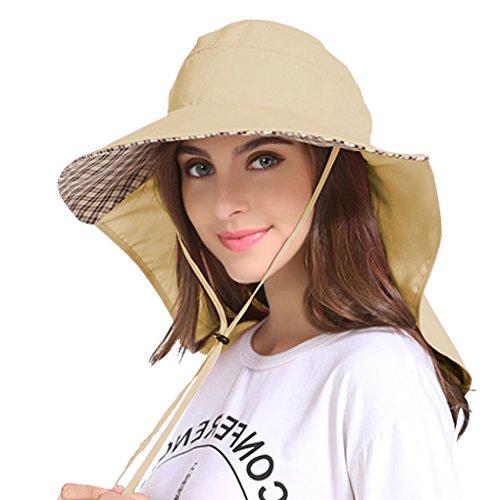 Jormatt Women Outdoor Sun Hat Sun Blocker Fishing Hiking Running Gardening Hat with Neck Flap Protection Coverage Lightweight Breathable Summer UPF 50+ Folding UV Sun Cap,Beige