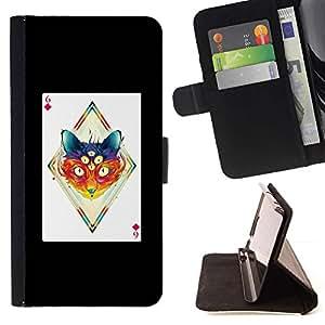 Momo Phone Case / Flip Funda de Cuero Case Cover - Apostolescy Arte Gato Dibujo Tercer Ojo; - Samsung ALPHA G850