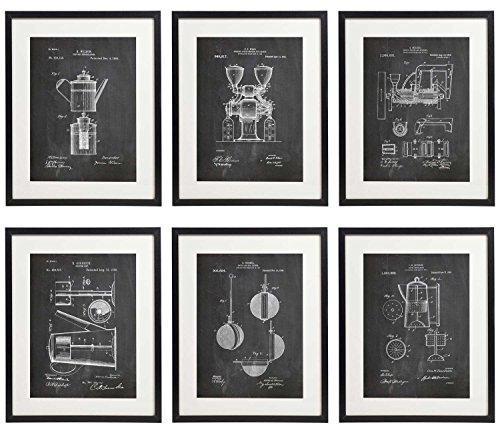 IDIOPIX Coffee Patent Wall Decor Chalkboard Art Print Set of 6 Prints UNFRAMED