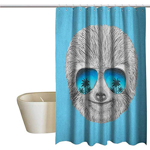 Genhequnan Sloth Extra Wide Shower Curtain Tropical Portrait of Sloth with Mirror -