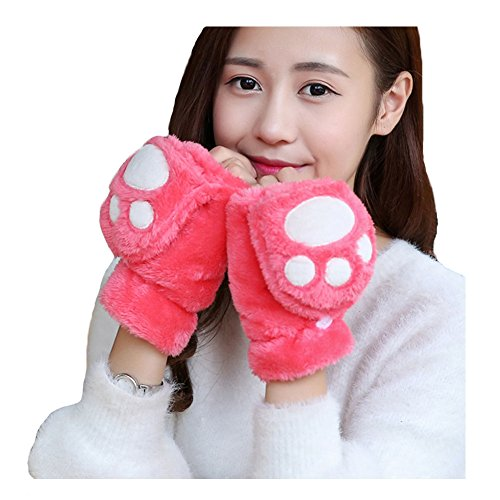 Price comparison product image ABCmall Girls Fingerless Gloves with Cat Claw Mitten Cover (Watermelon Red)