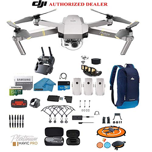 DJI Mavic Pro Platinum Drone – Quadcopter – with 3 Batteries – 4K Professional Camera Gimbal – Bundle Kit – with Must Have Accessories