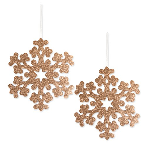 - DII Large Hanging Snowflakes with Golden Sparkle for Holiday Door & Wall Decoration, Enhance Your Décor for Home, School, Office, or Party (10.8L x 12.2