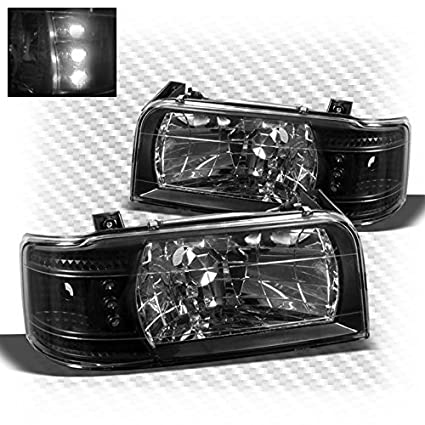 1992-1996 FORD F150 F250 F350 BRONCO LED CRYSTAL HEADLIGHT CHROME 1993 1994 1995