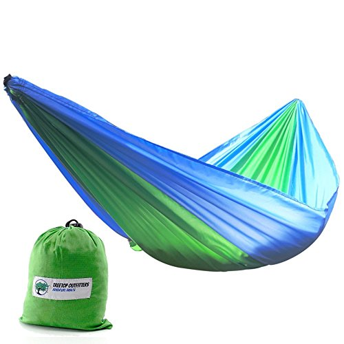 ++FLASH SALE++ The Sycamore Single Parachute Camping Hammock + Top Quality [210T Ripstop Nylon] Camp Gear For Backpacking Camping Survival & Travel + Portable Lightweight