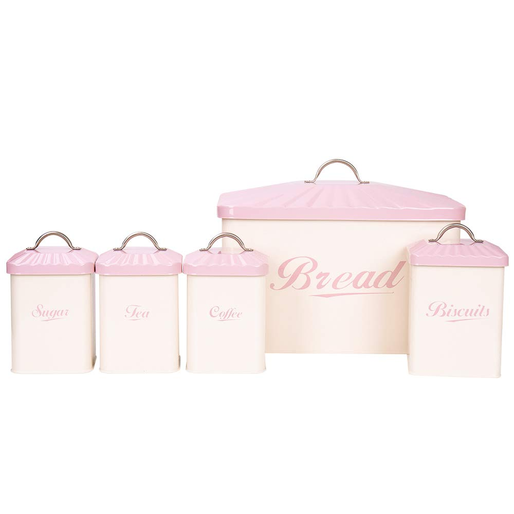 Hot Sale X649 Metal Square Home Kitchen Gifts Bread Bin/Box/Container Biscuit Tea Coffee Sugar Tin Canister Set (Pink)