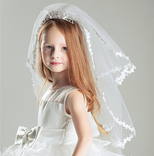 AliceHouse Girl's Two Layers Rhinestone Tiara Bridal Flower Girls Veil MGV09 by AliceHouse (Image #3)