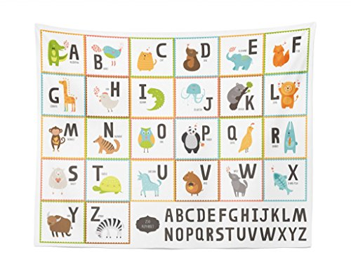 - Lunarable ABC Kids Tapestry, Colorful Cartoon Zoo Animals Alphabet Owl Cat Panda in Squares on White Background, Fabric Wall Hanging Decor for Bedroom Living Room Dorm, 28 W X 23 L inches, Multicolor
