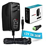 [UL Listed] Chanzon 12V 3A 36W AC DC Switching Power Supply Adapter (Input 100-240V, Output 12 Volt 3 Amp) Wall Wart Transformer Charger for DC12V CCTV Camera LED Strip Light (6Ft Cord, 36 Watt Max)