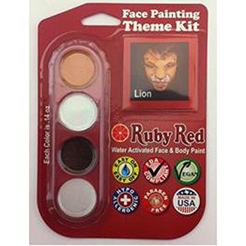 Ruby Red Paint Face Paint, 2ML X 3 Colors - Lion