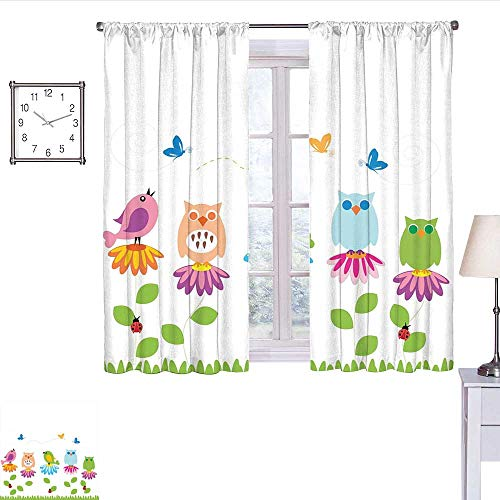 - alisoso Flowers Blackout Curtain Colorful Cartoon Style Birds on Chamomile Daisy Flowers Butterflies Ladybugs Kids Curtain Valance Multicolor W55 x L39