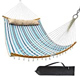 Ohuhu Double Hammock Quilted Fabric Swing with Detachable Pillow, 2019 All New Curved-Bar Design Strong Bamboo Hammocks with Carrying Bag, 4.6'W x 6.2'L, Blue & White Stripe