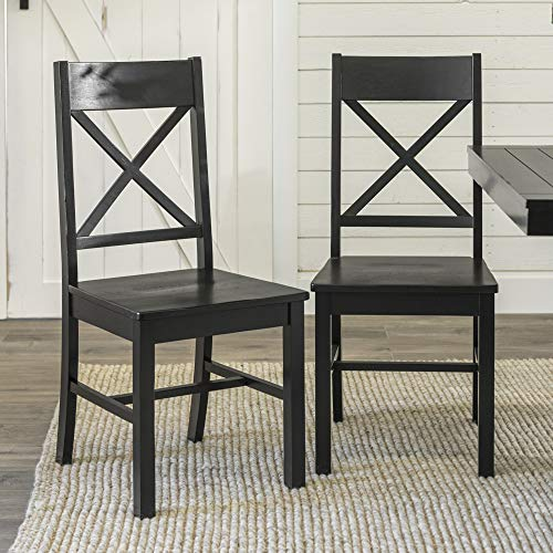 WE Furniture Modern Farmhouse Wood X-Back Kitchen Dining Chairs, Black