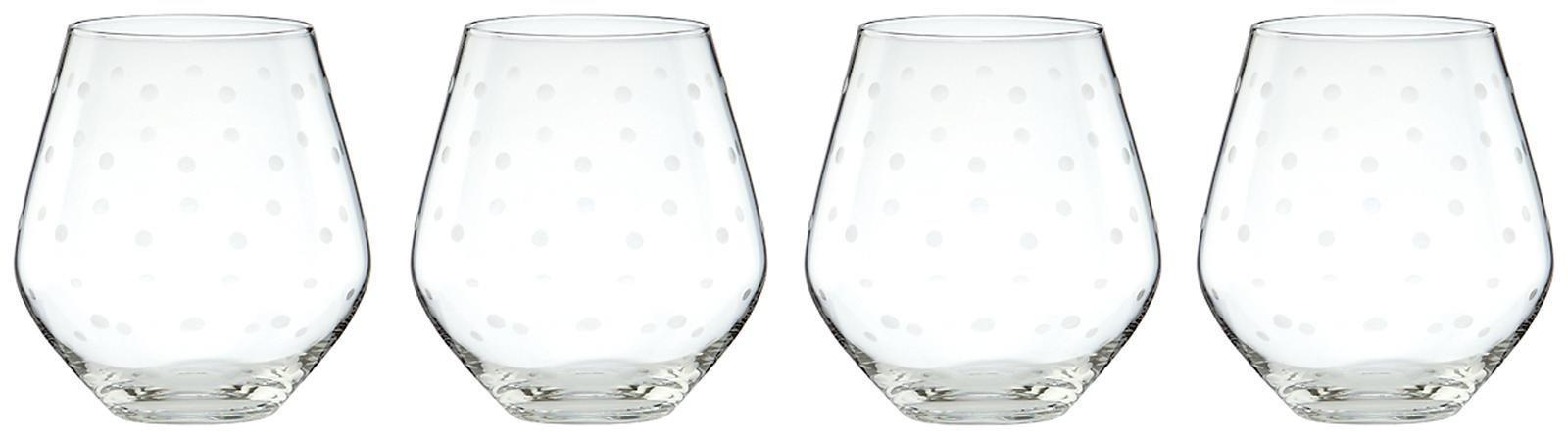 kate spade new york Larabee Dot Stemless Red Wine Glass, Set of 4
