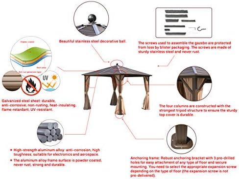 Erommy 10x10ft Outdoor Galvanized Steel Hardtop Gazebo Canopy Aluminum Furniture Pergola
