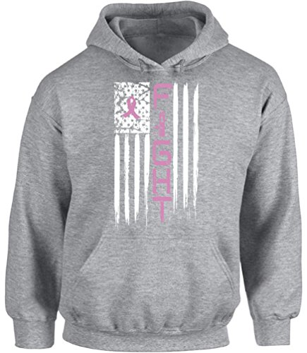 Awkward Styles Unisex Breast Cancer American Flag Hoodie Hooded Sweatshirts Fight Distressed Pink Ribbon Grey M
