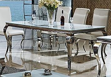 Esstisch Lara Designer Luxus Tisch Buro Edelstahl Glas Barock Chrom