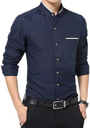 Xswsy XG Mens Long-Sleeve Shirt Casual Solid Color Button Down Dress Shirt