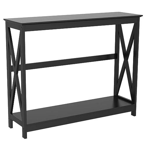 Mooseng, Entryway Hallway Bathroom Living Room Wood Console Sofa Tables,2 Shelf Open Bookshelf, Espresso