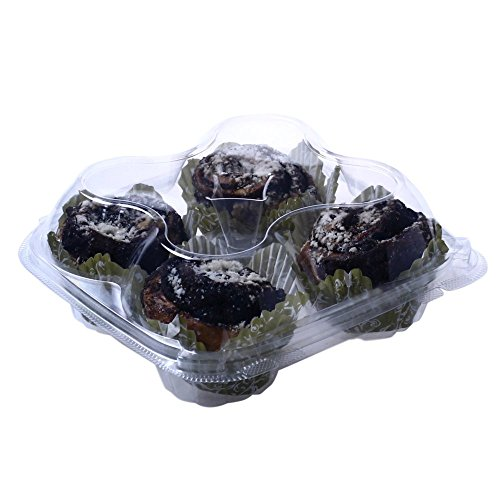 OccasionWise Premium Clear Muffin Containers | 4 Large Compartment | with Hinged Lid to Keep Your Cupcakes Delicious & Fresh | 12 Pack