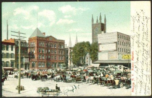 Lyon Block Peter Schyuler Public Market Albany NY undivided back postcard 1908 - Lyons Ny Postcard