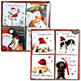 12pc Square Christmas Cards (Puppies)