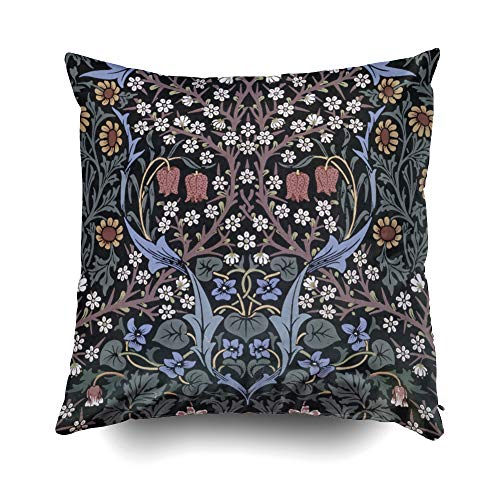 Musesh Christams Wallpaper by William Morris Cushions Case Throw Pillow Cover for Sofa Home Decorative Pillowslip Gift Ideas Household Pillowcase Zippered Pillow Covers 18X18Inch