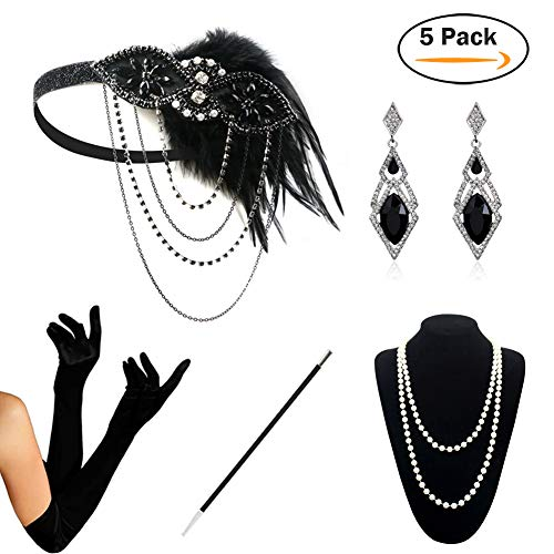 HAMIST 1920s Accessories Set Flapper Costume Women Headband Gloves Cigarette Holder Necklace (1920Set5-5905)