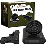 Target Alarm Clock With Gun, Infrared target and Realistic Sound Effects infrared 0.8 mw -Black- By Creatov-No batteries included