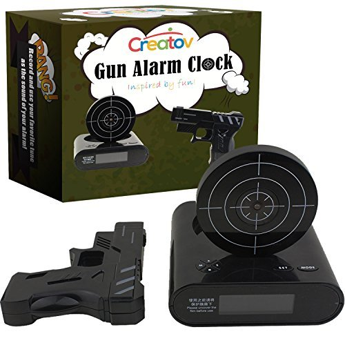 Target Alarm Clock with Gun - Infrared Target and Realistic Loud Sound Effects Fun Pistol Game Clocks for Heavy Sleepers Kids Boys & Girls Infrared 0.8 MW Camouflage Black by Creatov