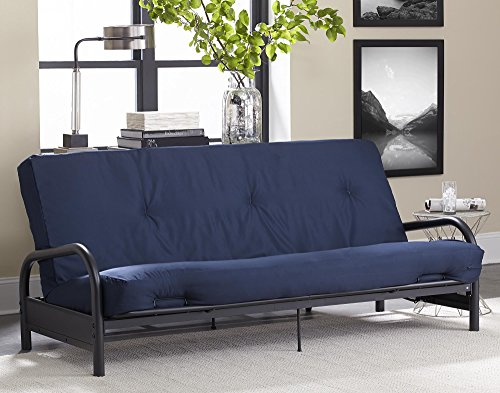 DHP 8-inch Polyester Futon Mattress, Greenguard Certified, Full Size - Navy