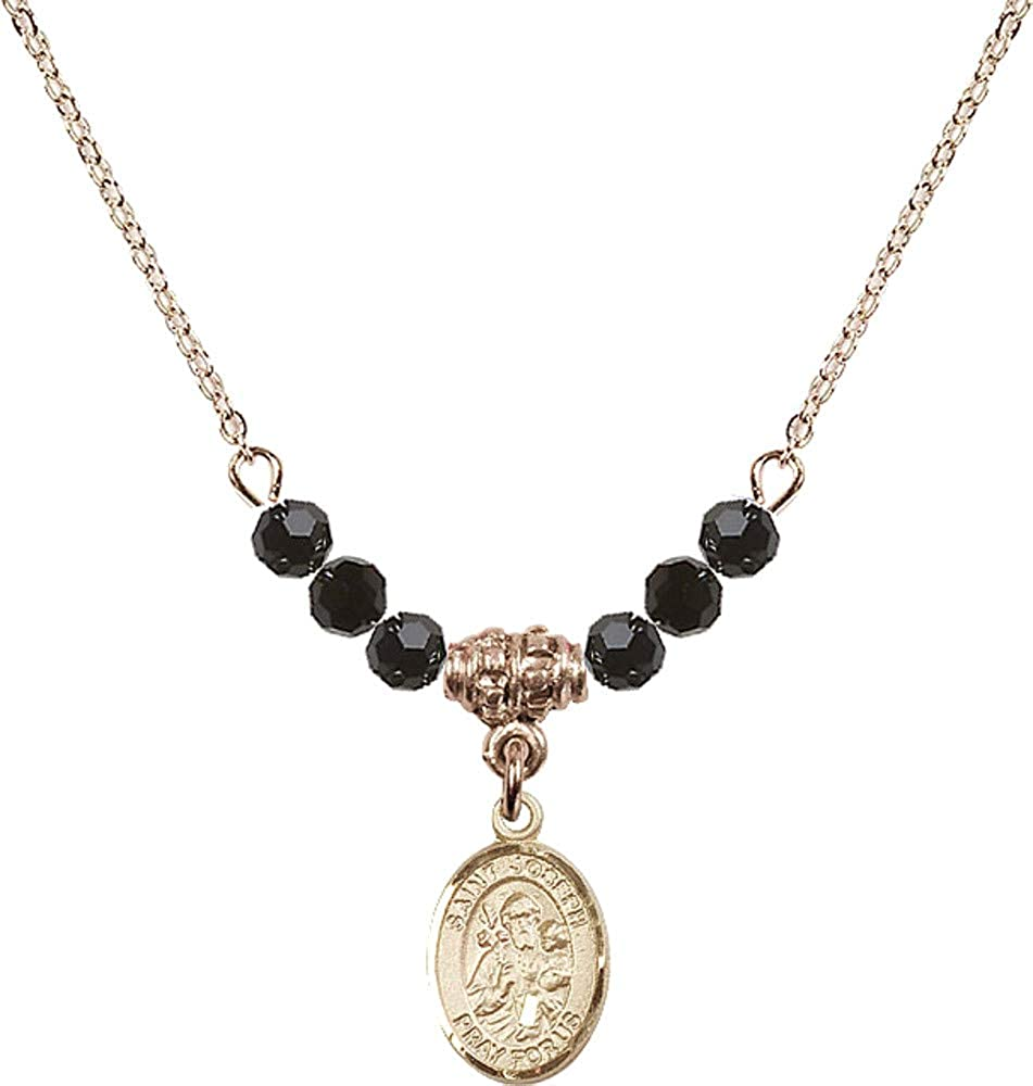Bonyak Jewelry 18 Inch Hamilton Gold Plated Necklace w// 4mm Jet Birth Month Stone Beads and Saint Joseph