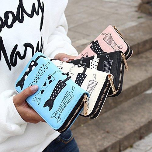 Etui Chat Porte PU Femme Fille Monnaie pour Cadeau Blanc Cartes Hrph Bourse Cute Longue Zipper Cuir Fille Cartoon Porte Plusieurs Cartes 6wn4AqEx