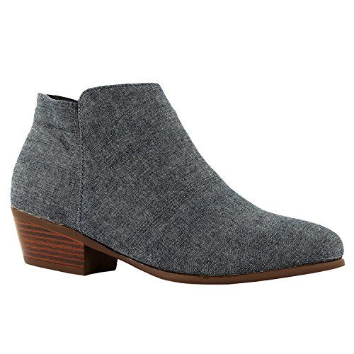 Guilty Schuhe Damen Cowboy geschlossene Zehe Faux Wildleder Bootie - Bequeme Seite Reißverschluss Low Heel Ankle Boot 02-Jean