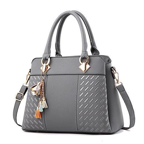 Grigio Satchel Tote Bags Women Shoulder Borse Asyfashion da ufficio w8x4Rf5