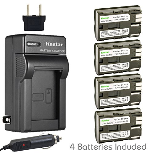 Bp 511a Camera Battery - Kastar Battery (4-Pack) and Charger for Canon BP-511, BP-511A, BP511, BP511A and EOS 5D, 10D, 20D, 30D, 40D, 50D, Digital Rebel 1D, D60, 300D, D30, Kiss Powershot G5, Pro 1, G2, G3, G6, G1, Pro90 etc.