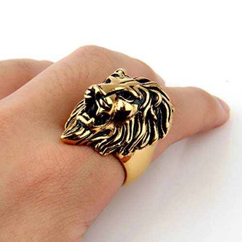 Epinki Jewelry Stainless Steel Vintage Punk Rock Men Gold Lion