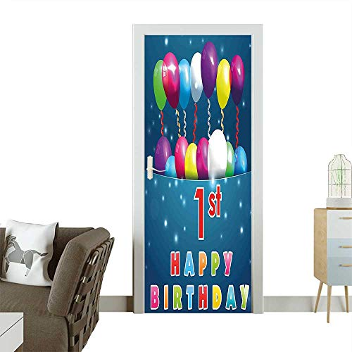 - Door Sticker Wall Decals Balloons with Stars Image in a Pocket Party Theme Dark Blue Pink Easy to Peel and StickW23.6 x H78.7 INCH