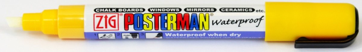 Zig Kuretake Posterman Yellow Broad (6mm) Nib Tip Liquid Chalk Marker Pens Waterproof Blackboard Whiteboard Outdoor Glass Metal Plastic Wood Paper Illumi Board (Pack of 1) Kuretake UK Ltd.