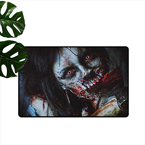 Zombie Door mat Customization Scary Dead Woman with a Bloody Axe Evil Fantasy Gothic Mystery Halloween Picture Hard and wear Resistant W35 x L59 Multicolor ()