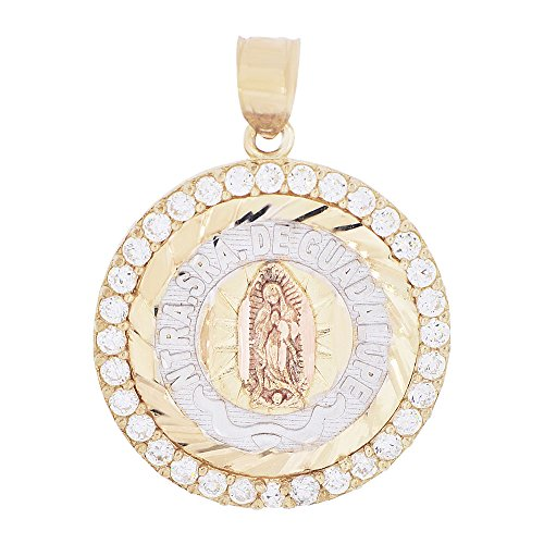 14k Tricolor Gold, Virgin Mary Pendant Medal Religious Charm Brilliant Created CZ (Tri Color Religious Charm Medal)