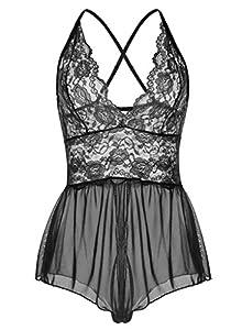 ALLureLove Sexy Lingerie Open Crotch Leotard Teddy Nightwear Lace Miniskirt Babydoll
