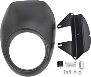 Amazicha Matte Black Front Headlight Fairing Mask Fork Cowl Compatible for Harley Sportster Dyna FX XL 1973-2019