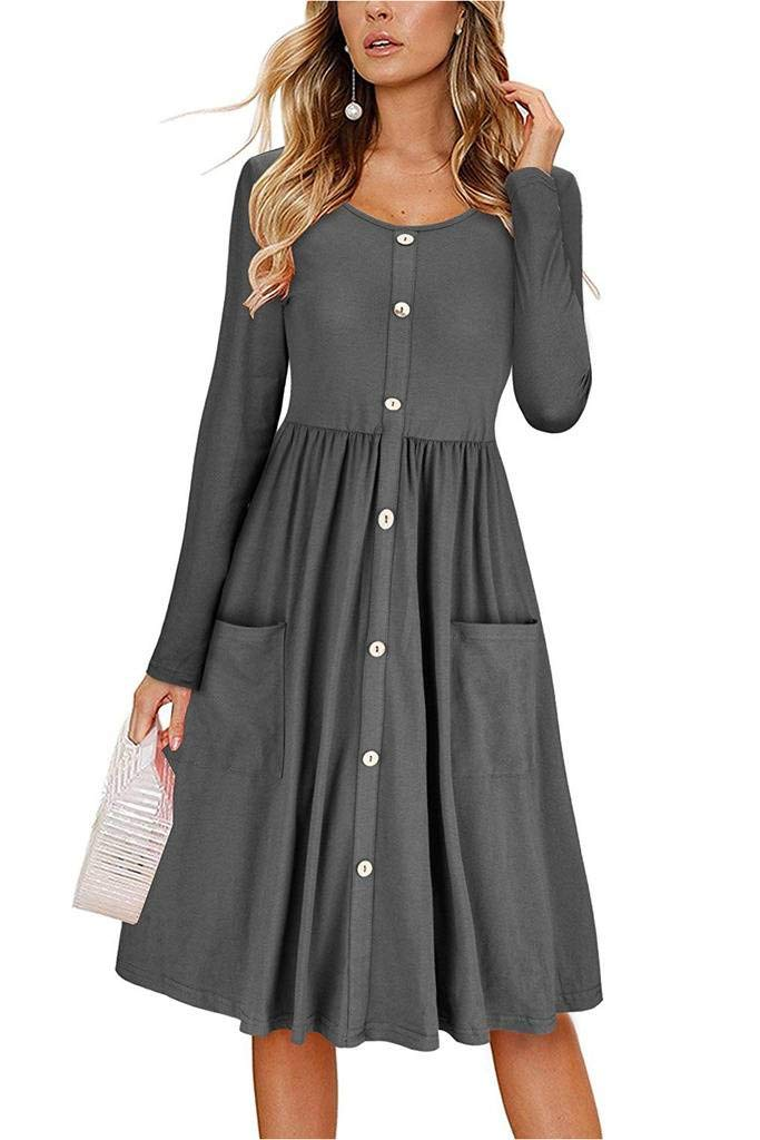 Befily Womens Long Sleeve Button Down Loose Swing Midi Dress with Pockets