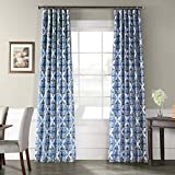 Cheap Ptpch-170803A-120 Tiera Printed Faux Silk Taffeta Blackout Curtain, 50 x 120, Blue