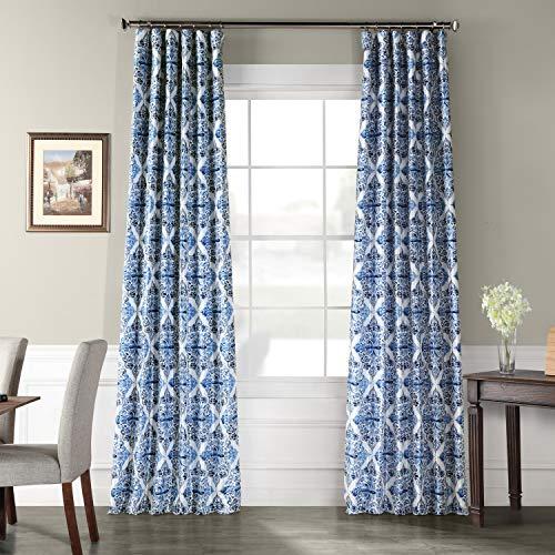 Ptpch-170803A-120 Tiera Printed Faux Silk Taffeta Blackout Curtain, 50 x 120, Blue