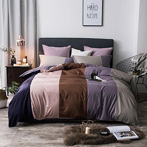 (MKXI Stripes Patckwork Duvet Cover Set Luxury Reversible Bedding Set Quilt Comforter Cover Set Modern 1 Queen Duvet Cover and 2 Pillow Shams)