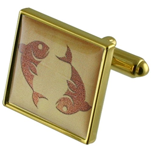 Pisces Birthday Zodiac Star Sign Gold-tone Square Cufflinks with Select Gifts Pouch ()