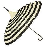 Kung Fu Smith Women Vintage Polka Dots Travel Stick Rain Pagoda Parasol Umbrella (Beige + Black)